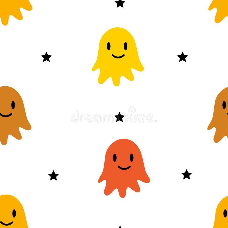 Glückliches Halloween-Muster mit Farbgeistern und -sternen auf weißem Hintergrund Vektorverzierung für Gewebe und die Verpackung lizenzfreie abbildung