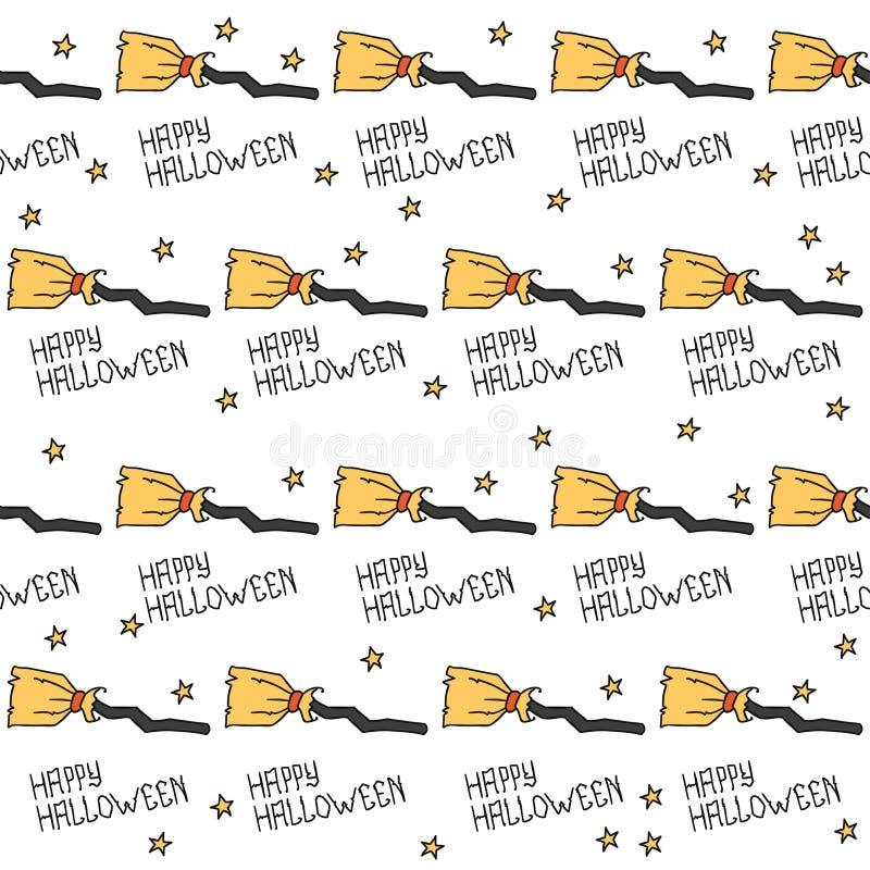 Glückliches Halloween Nahtloses Muster mit Hexen lizenzfreie abbildung