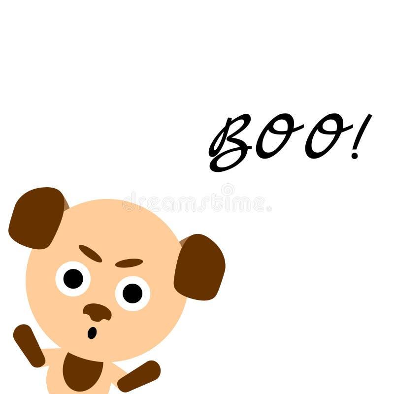 Glückliches Halloween Netter vektorhund Bunter furchtsamer lustiger Charakter der Karikatur Hände oben Weißer Hintergrund Flacher stock abbildung