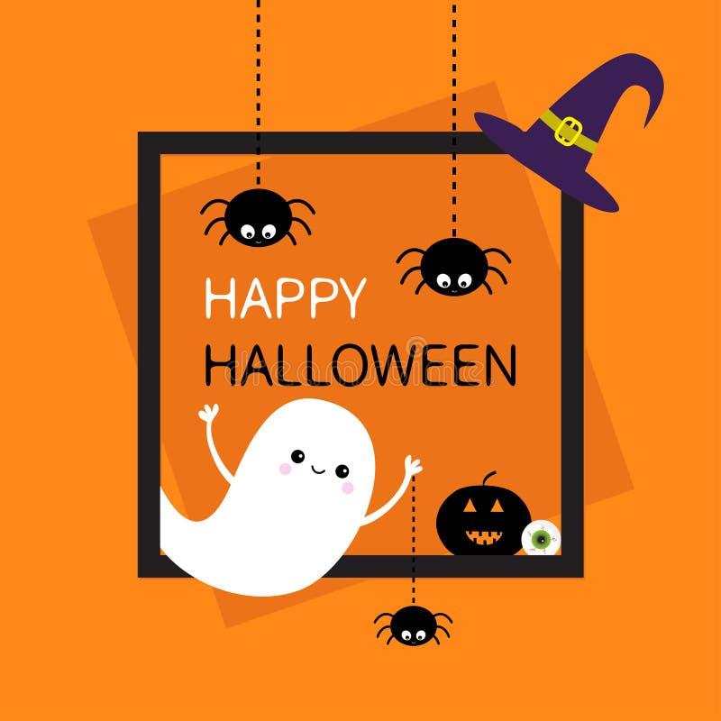 Glückliches Halloween Quadratisches Feld Spinnennetz-Strichlinieschattenbild des Fliegengeistes drei schwarzes Kürbis, Augapfel,  stock abbildung