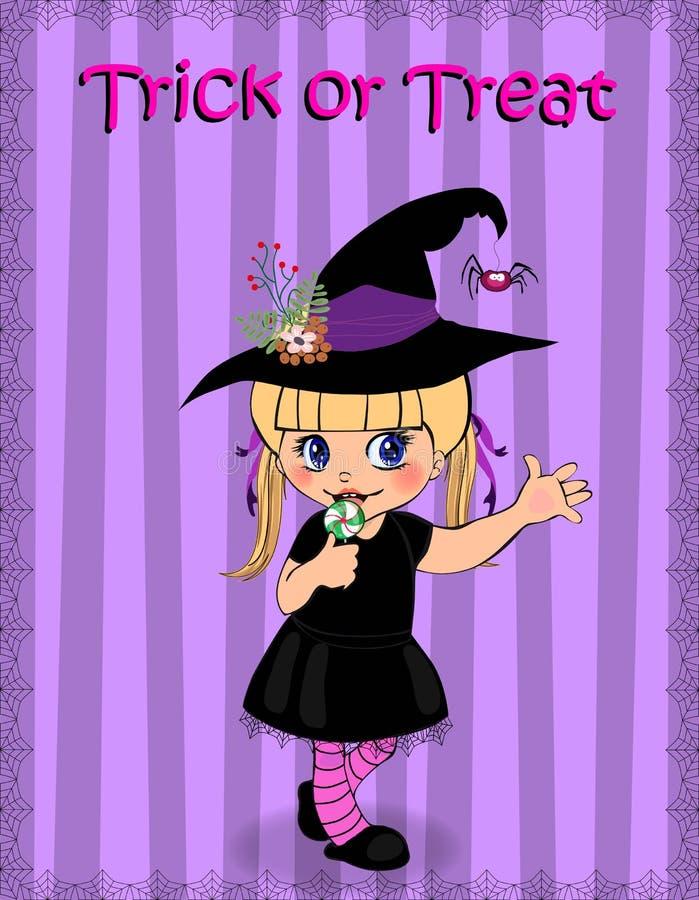 Glückliches Halloween Süßes sonst gibt's Saures, das Karte wenigen Babys im Hexenkleid grüßt stock abbildung