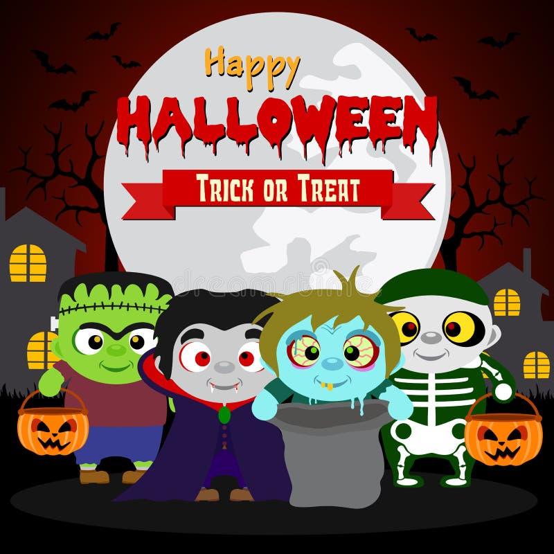 Glückliches Halloween Süßes sonst gibt's Saures mit Kindern in Halloween-Kostüm vektor abbildung