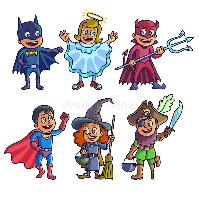 Glückliches Halloween Satz nette Kinder der Karikatur in den verschiedenen Kostümen Batman, Hexe, Engel, Teufelsuperheld und Pira vektor abbildung