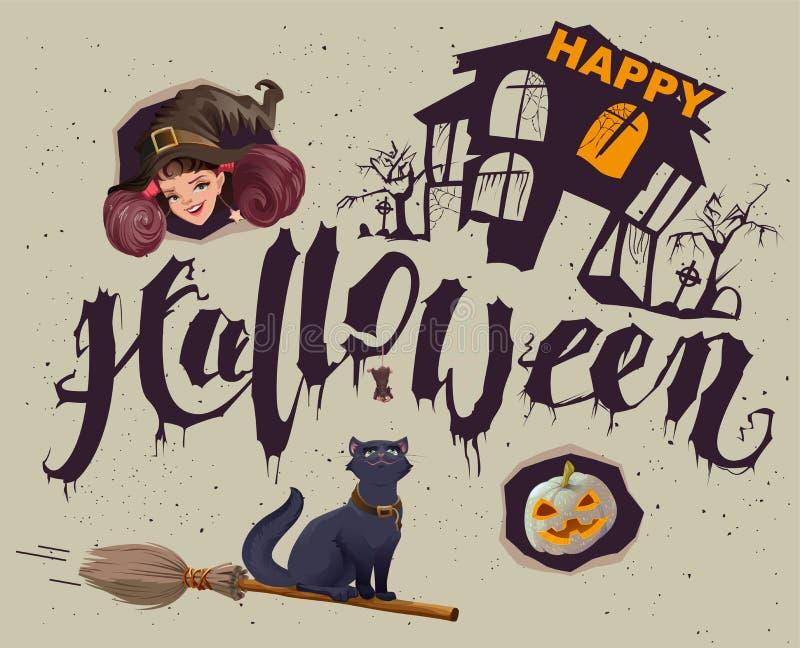 Glückliches Halloween Satz Zubehör für Grußkarte lizenzfreie abbildung