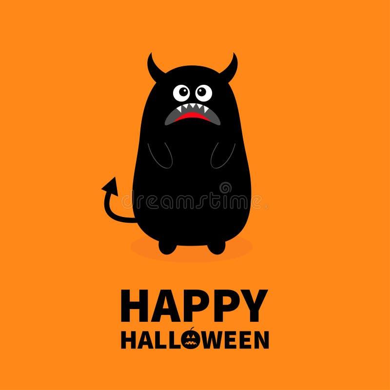 Glückliches Halloween Schwarzes Schattenbild des Monsters Reißzahnzahn Öffnen Sie Mund Ein Auge, Zähne, Zunge, Hände, Endstück, H stock abbildung