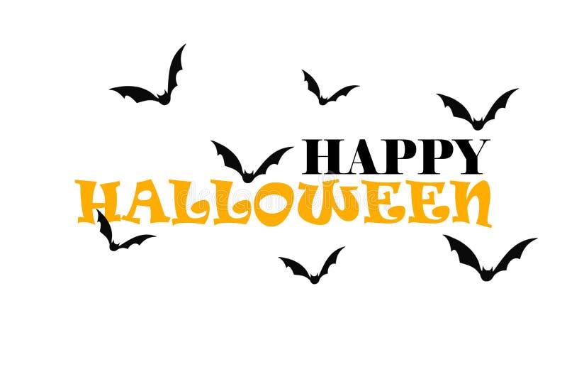 Glückliches Halloween-Schwarzes und orange Text auf dem weißen Hintergrund mit Schlägern vektor abbildung