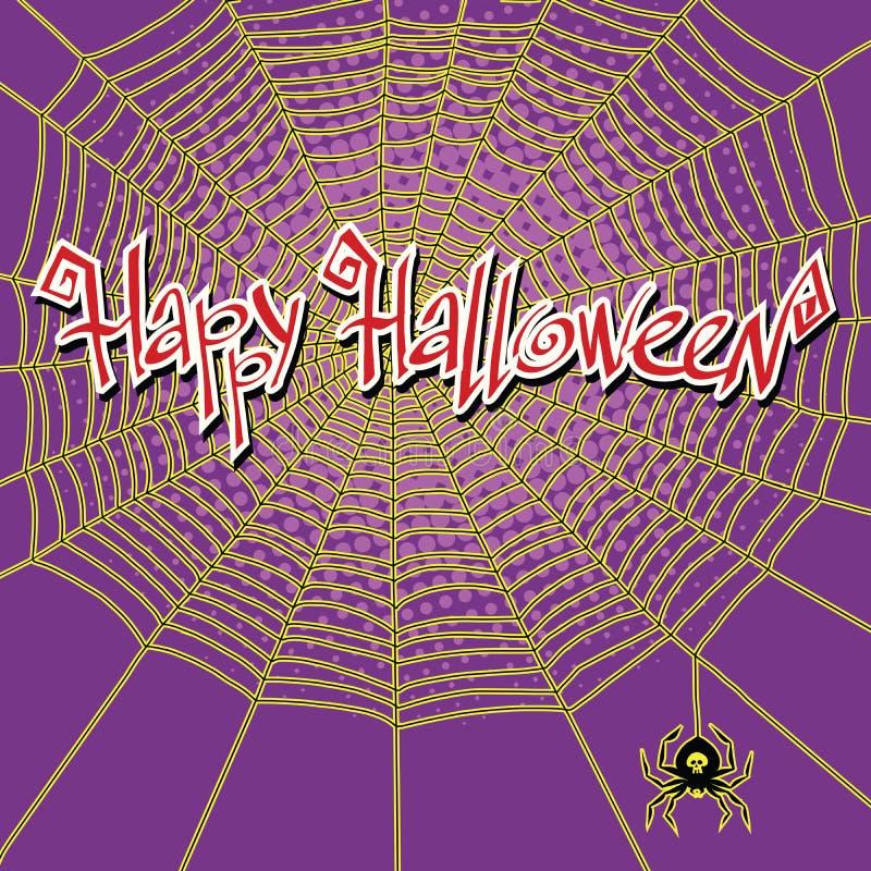 Glückliches Halloween-spiderweb und -spinne stock abbildung