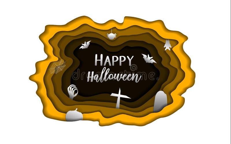 Glückliches Halloween-Tagespapier schnitzen Hintergrund Nettes paperart und Schreibarbeitskonzept für Geistgrußkartenmaterial Kar lizenzfreie abbildung