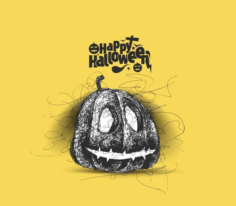 Glückliches Halloween - trauriger Kürbis lokalisierte gelben Hintergrund stock abbildung
