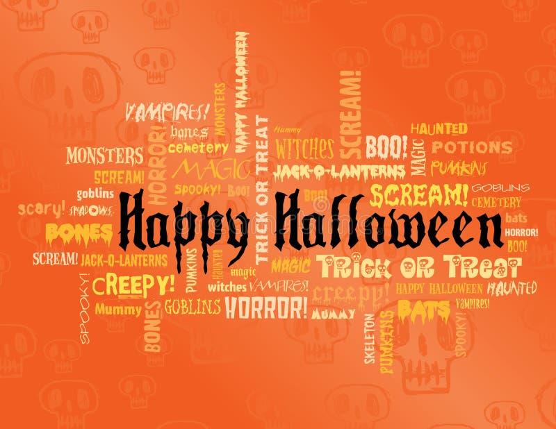 Glückliches Halloween und andere furchtsame Wörter vektor abbildung