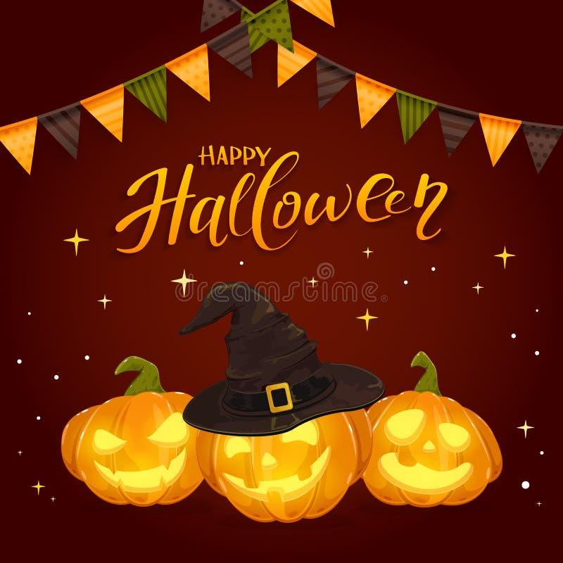 Glückliches Halloween und Kürbise mit schwarzem Hexen-Hut und Wimpeln stock abbildung