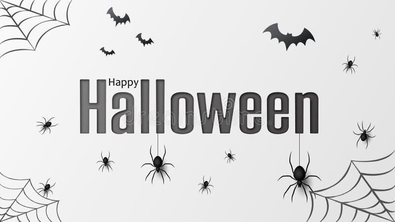 Glückliches Halloween Vector lokalisiertes Muster mit hängenden Spinnen und schlägt Spinne für Fahne, Plakat, Grußkarte Vektor lizenzfreie abbildung