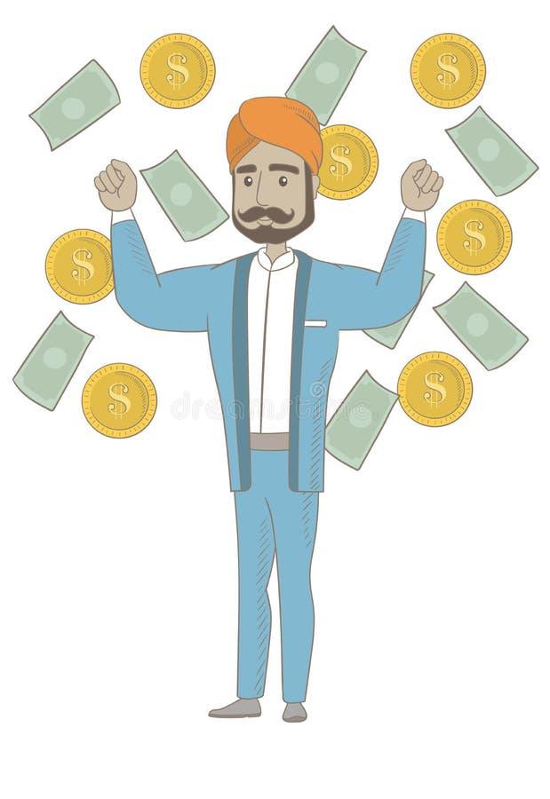 Glückliches hindisches busiessman, das unter Geldregen steht lizenzfreie abbildung
