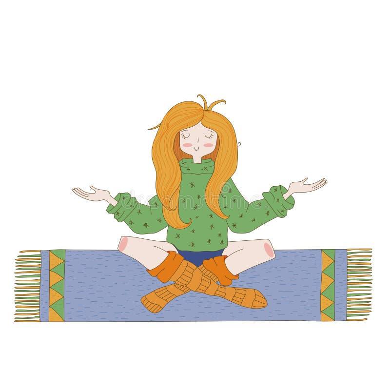 Glückliches Hippiemädchen, heller farbiger handdrawn Vektor Liebes- und Friedensillustration Meditationsthema stock abbildung