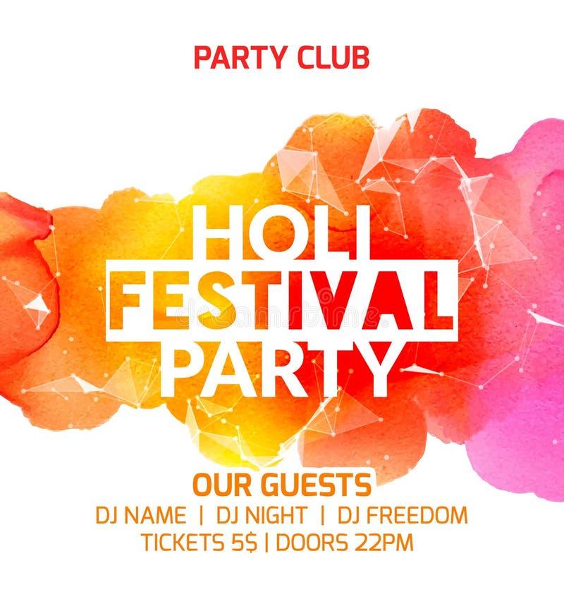 Glückliches Holi-Festivalhintergrund-Plakatdesign Bunte Vektor holi Gruß-Feierdekoration Indische Kulturschmerz stock abbildung