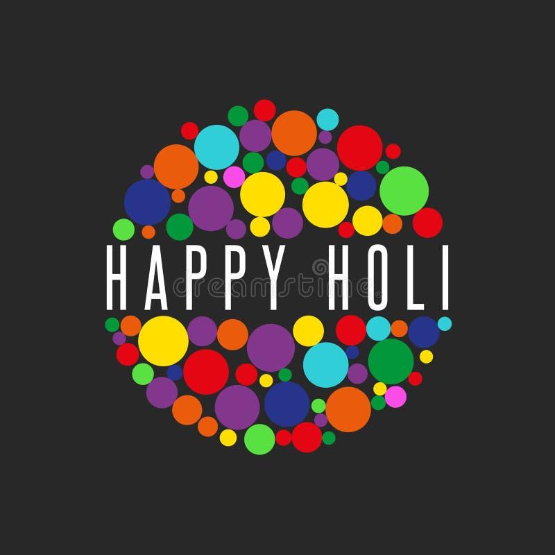 Glückliches Holi-Frühlingsfest des Teilens des Liebesfahnenhintergrundes, der Spritzenfarbrunden und des Textes vektor abbildung