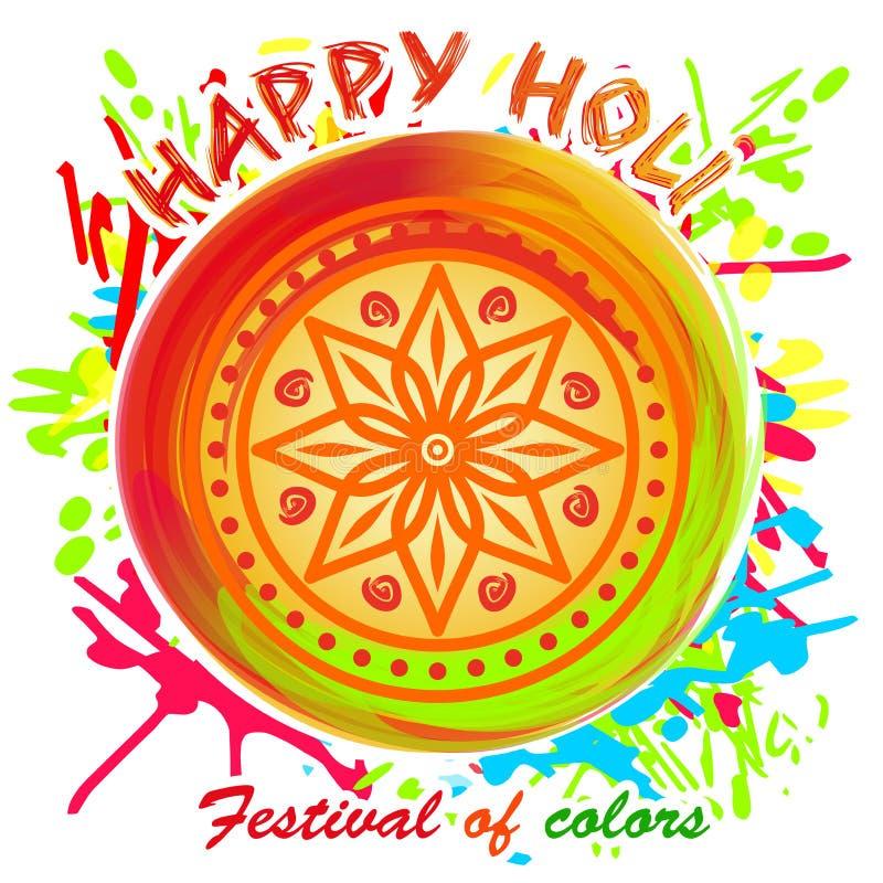 Glückliches Holi Schöne bunte Mandala Gestaltungselement für Festival des Frühlinges und der Farben stock abbildung