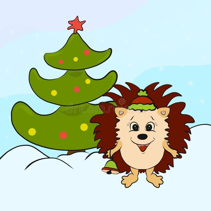 Glückliches Igeles mit einer Glocke nahe einem Weihnachtsbaum stock abbildung