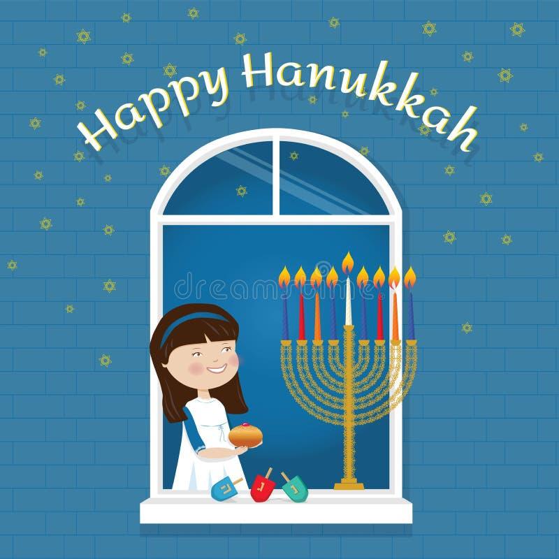 Glückliches jüdisches Feiertagsmädchen der Chanukka-Grußkarte mit traditionellen Symbolen lizenzfreie abbildung