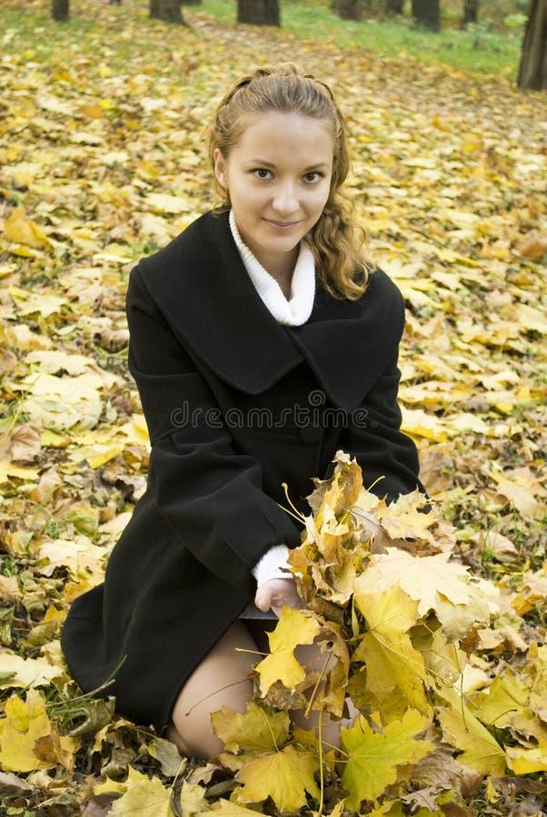 Glückliches jugendlich Mädchen ergreift ein Bündel gelbe Blätter stockfotos