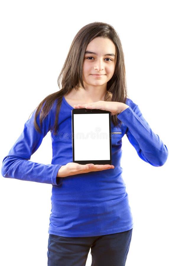 Glückliches jugendlich Mädchen mit digitaler Tablette lizenzfreie stockfotos