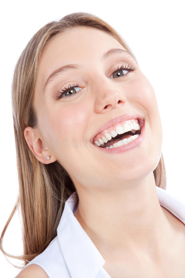 Glückliches junge Frauen-Porträt stockfotografie