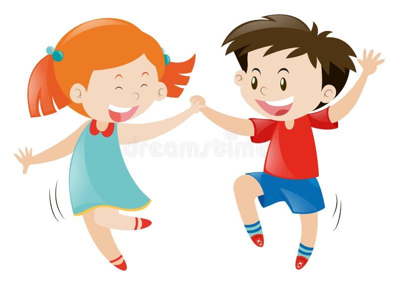 Glückliches Jungen- und Mädchentanzen vektor abbildung