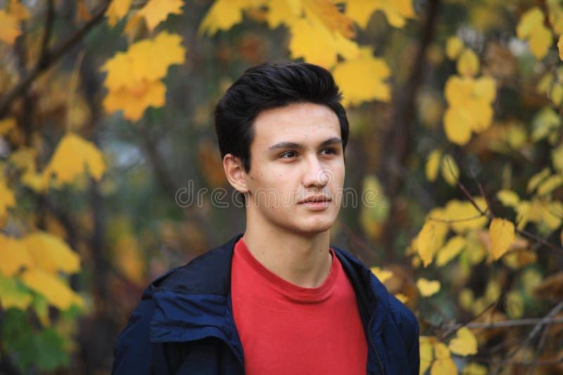 Glückliches Jungenfreien im Herbststadtpark lizenzfreies stockfoto