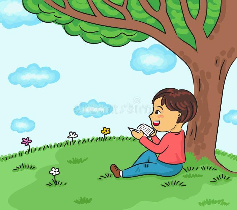 Glückliches Jungenlesebuch unter der Baumvektorillustration lizenzfreie abbildung