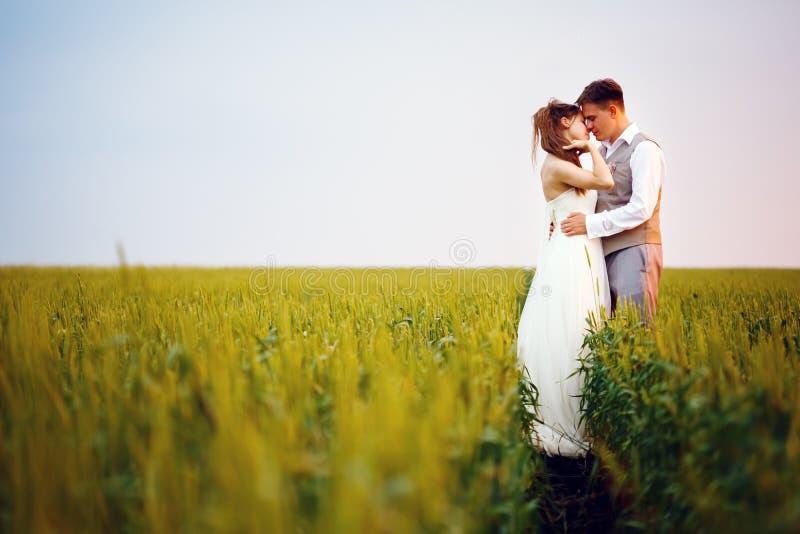 Glückliches junges Hochzeitspaarküssen lizenzfreie stockbilder