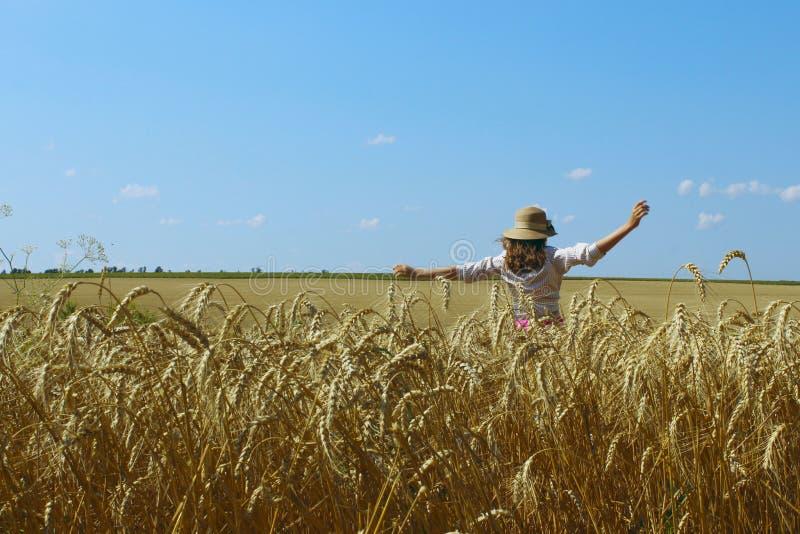 Glückliches junges Mädchen, das auf eine Weizenwiese geht stockbilder
