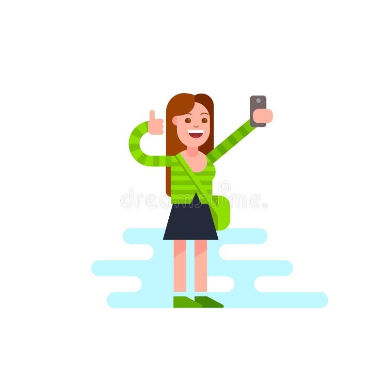Glückliches junges Mädchen, das Selfie am Handy nimmt Katze entweicht auf ein Dach vom Ausländer vektor abbildung
