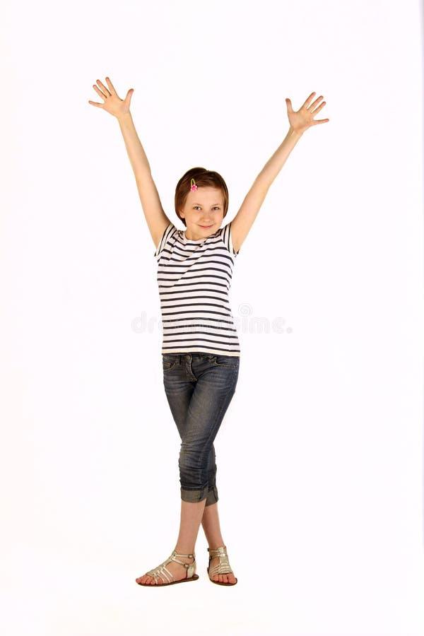 Glückliches junges Mädchen-Händchenhalten oben lizenzfreie stockfotografie