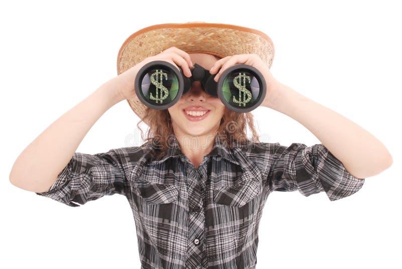 Glückliches junges Mädchen mit Ferngläsern und Dollar Zeichen stockfotos