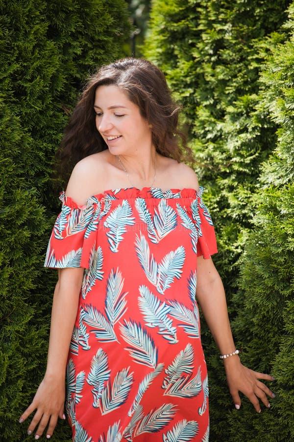 Glückliches junges schwangeres Mädchen Auf einem gr?nen Hintergrund in einem bequemen Kleid Porträt einer glücklichen und netten  stockbild