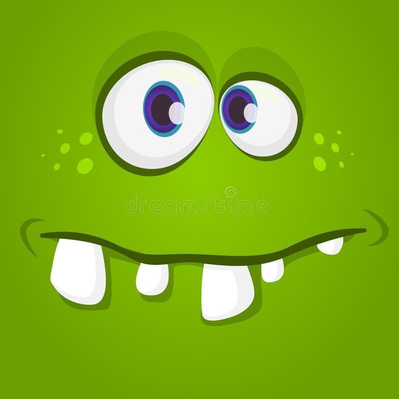 Glückliches kühles Karikaturmonstergesicht Vektor-Halloween-Grünzombie- oder -monstercharakter lizenzfreie abbildung