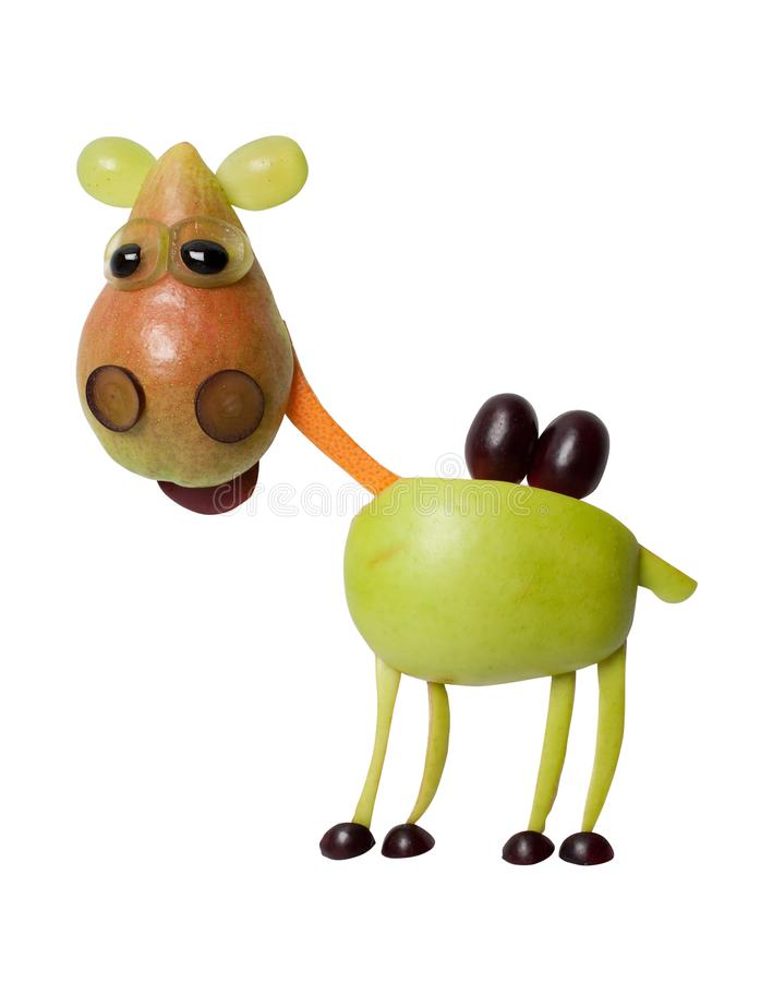 Glückliches Kamel gemacht mit Früchten auf lokalisiertem Hintergrund lizenzfreies stockfoto