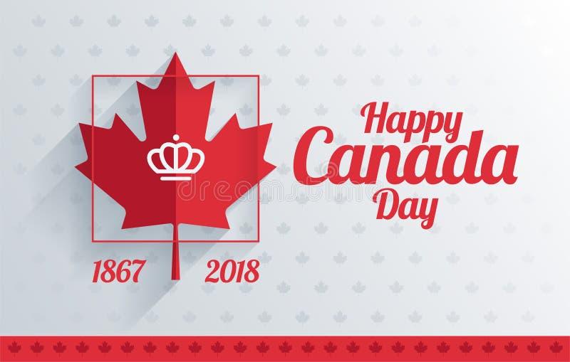 Glückliches Kanada-Tagesgruß-Kartendesign - Rotahornblatt und glückliches stock abbildung