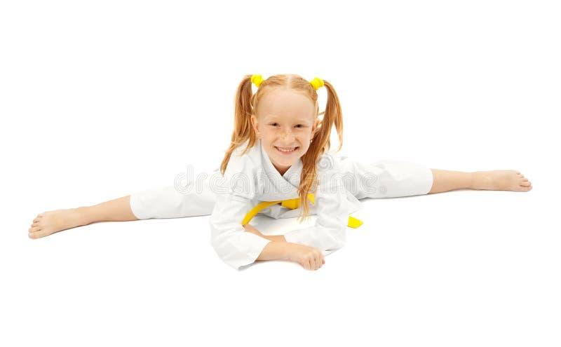 Glückliches Karatemädchen stockbilder