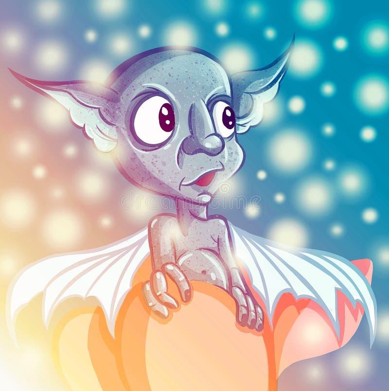 Glückliches Karikaturkoboldmonster Halloween-Kobold oder blaue Schleppangel- und großeohren stock abbildung