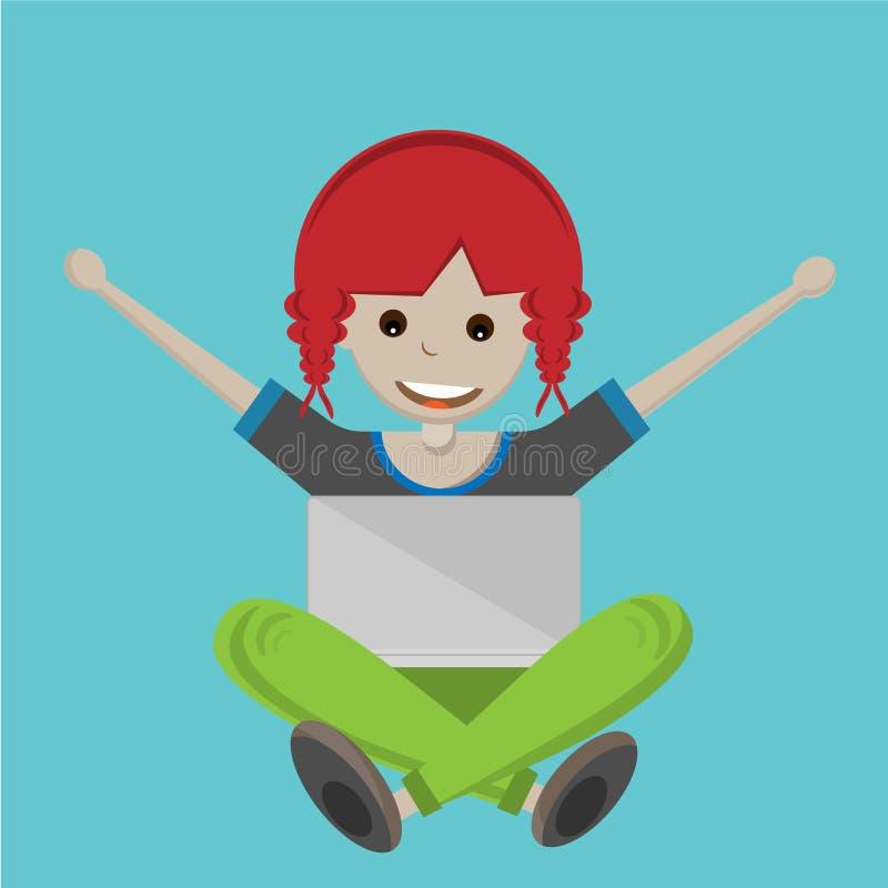 Glückliches Karikaturmädchen mit Laptop vektor abbildung