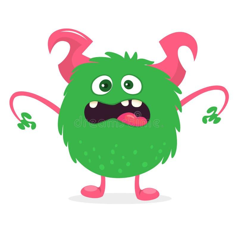 Glückliches Karikaturmonster mit dem großen Mund voll von den Zähnen Grüne Monsterillustration des Vektors stock abbildung