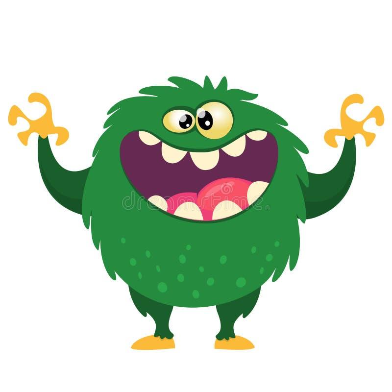 Glückliches Karikaturmonster mit dem großen Mund voll von den Zähnen Grüne Monsterillustration des Vektors Halloween-Design stock abbildung