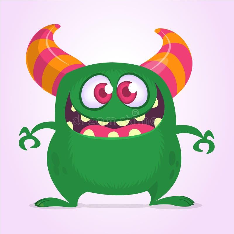 Glückliches Karikaturmonster mit dem großen Mund voll von den Zähnen Grüne Monsterillustration des Vektors Halloween-Design vektor abbildung