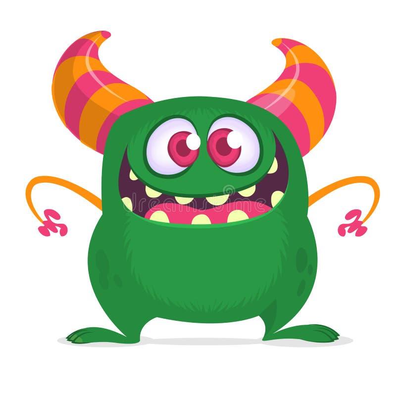 Glückliches Karikaturmonster mit dem großen Mund voll von den Zähnen Grüne Monsterillustration des Vektors Halloween-Design lizenzfreie abbildung