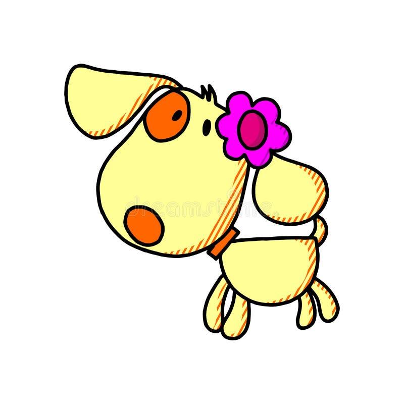 Glückliches Karikaturwelpensitzen, Porträt des netten kleiner Hundetragenden Kragens Hundefreund Auch im corel abgehobenen Betrag stock abbildung