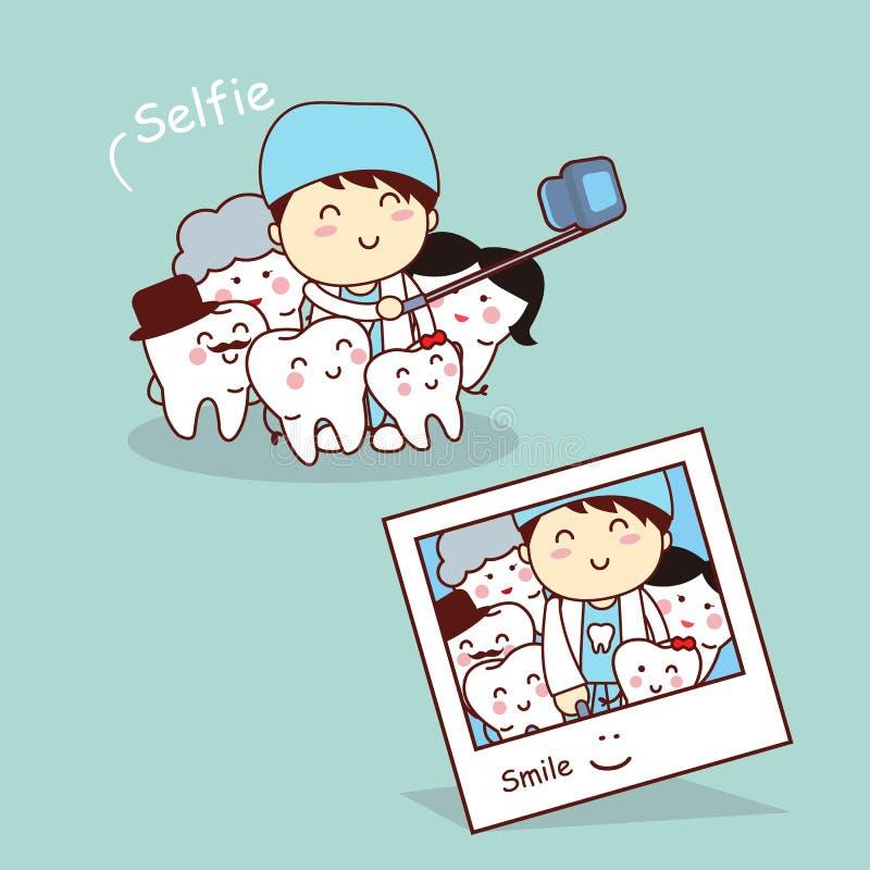 Glückliches Karikaturzahn-Familie selfie vektor abbildung