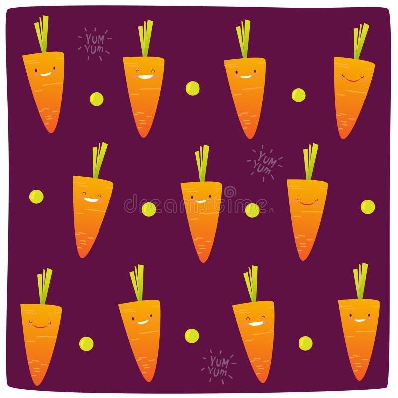 Glückliches Karottenmuster stock abbildung