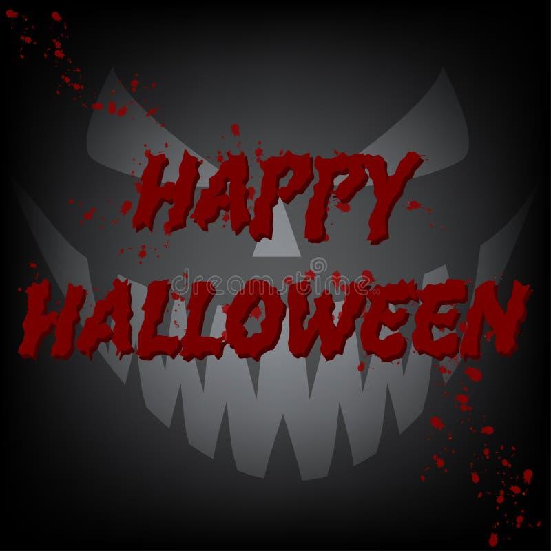 Glückliches Karten-Teufel-Gesicht Halloweens blutiges lizenzfreie abbildung