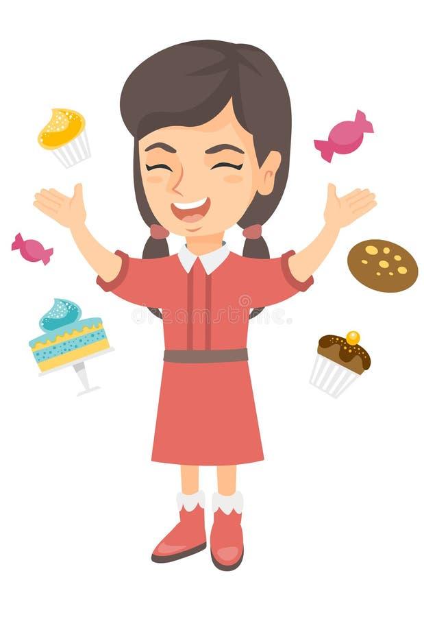 Glückliches kaukasisches Mädchen, das unter vielen Bonbons steht stock abbildung
